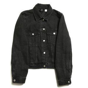 ⚜️ H&M Black Denim Trucker Jacket Women Medium